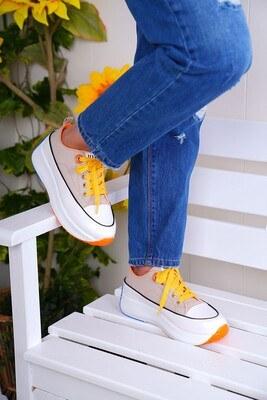 Bağcıklı Bej Spor Ayakkabı - Thumbnail