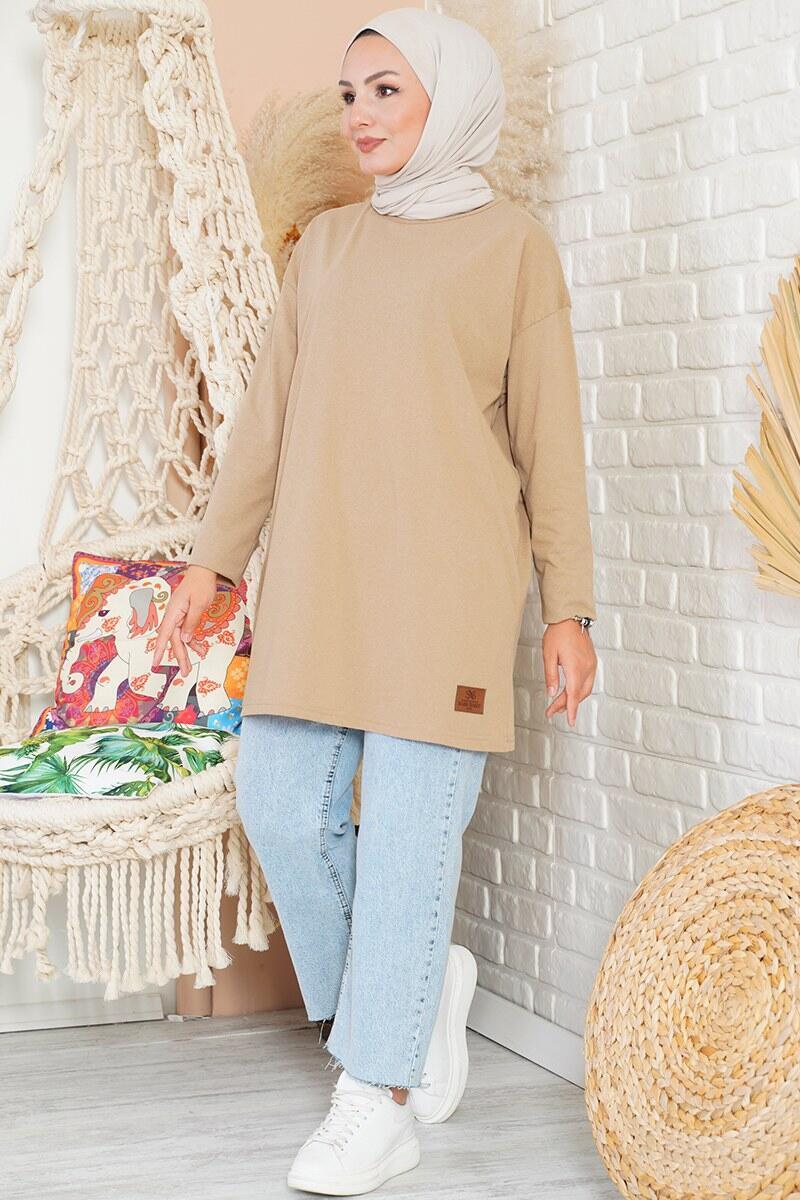 Basic Sweatshirt Camel Tunik