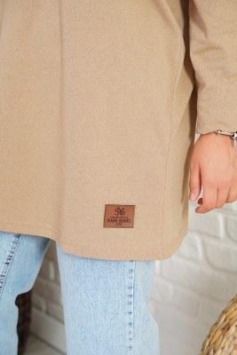 Basic Sweatshirt Camel Tunik - Thumbnail