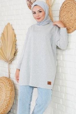 Basic Sweatshirt Gri Tunik - Thumbnail
