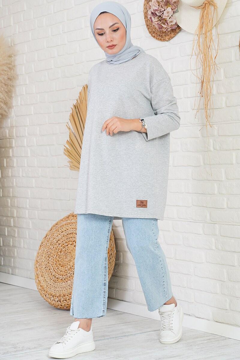 Basic Sweatshirt Gri Tunik