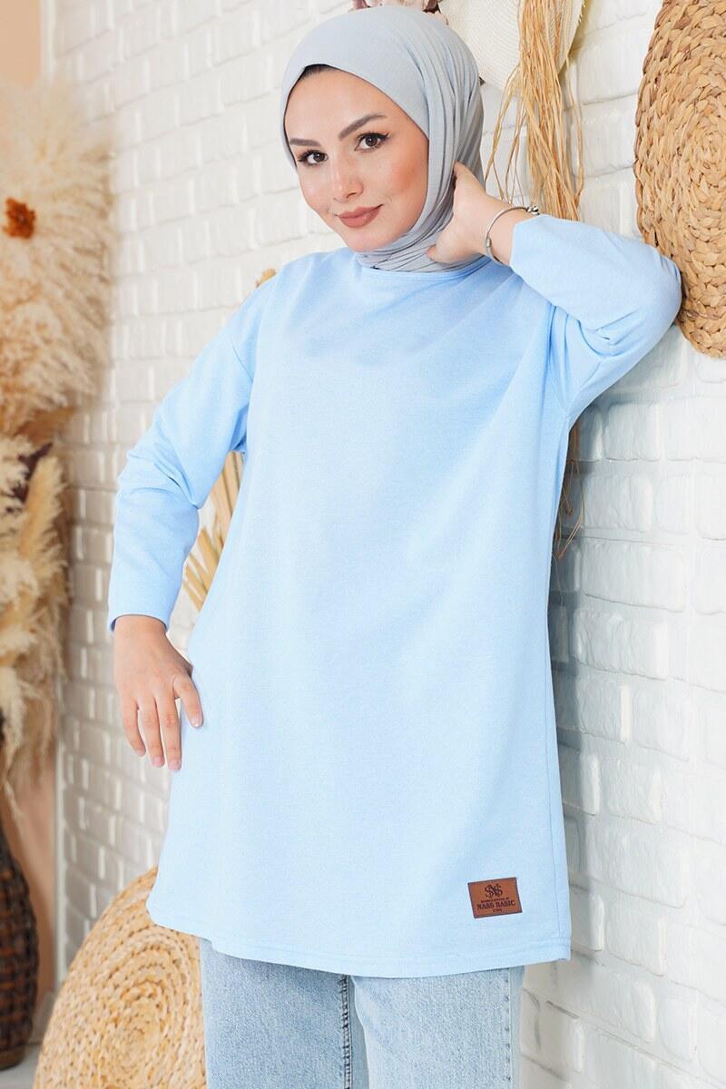 Basic Sweatshirt Mavi Tunik