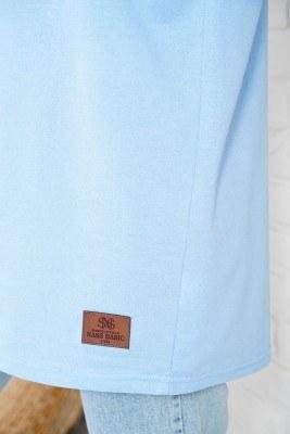 Basic Sweatshirt Mavi Tunik - Thumbnail