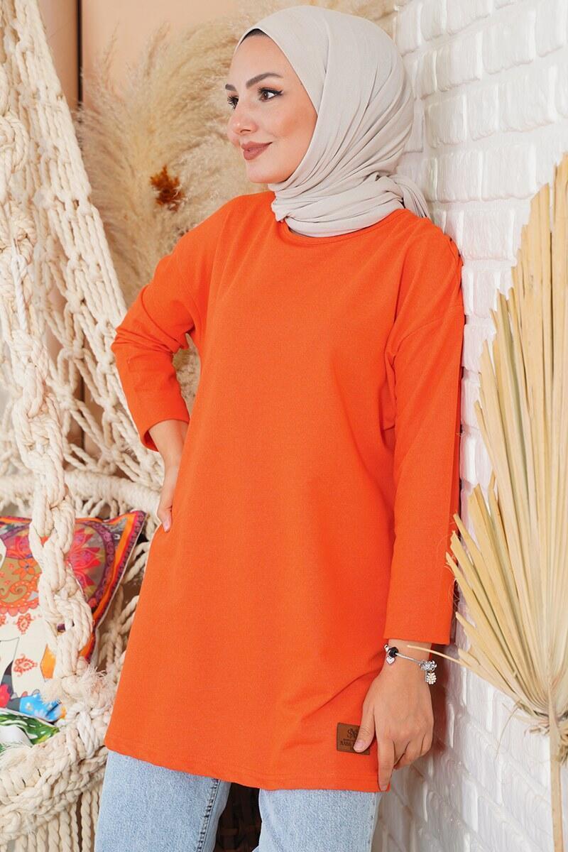 Basic Sweatshirt Oranj Tunik
