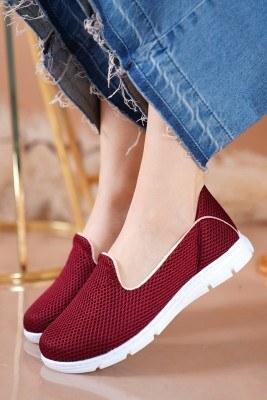 Bayan Fileli Bordo Spor Ayakkabı - Thumbnail