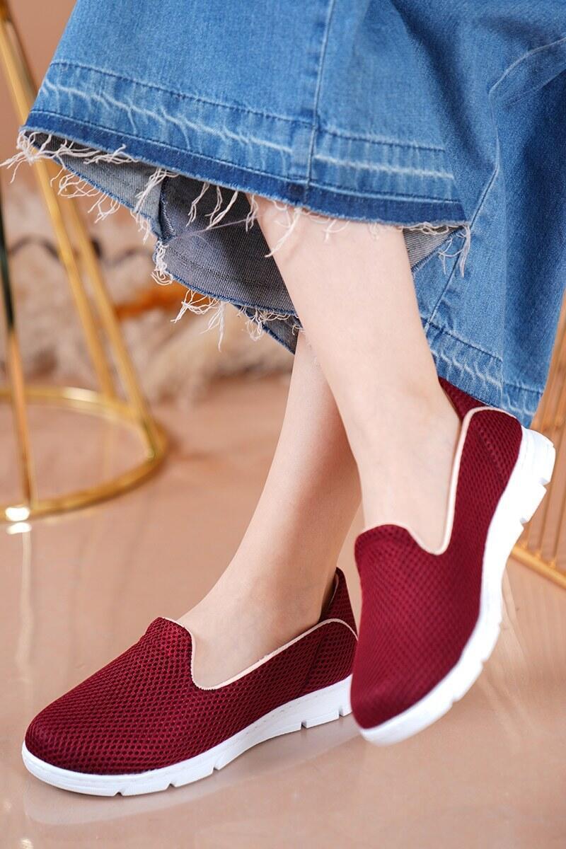 Bayan Fileli Bordo Spor Ayakkabı
