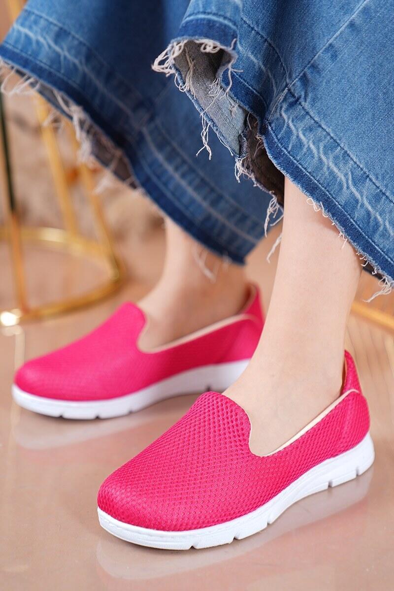Bayan Fileli Fuşya Spor Ayakkabı