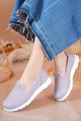 Bayan Fileli Gri Spor Ayakkabı - Thumbnail