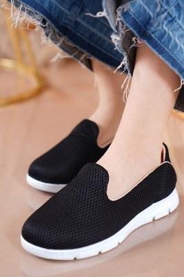 Bayan Fileli Siyah Beyaz Ayakkabı - Thumbnail