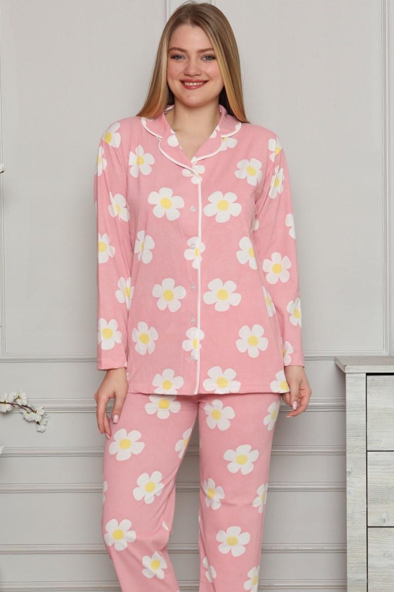 Bebe Yaka Papatya Desenli Pudra Pijama Takımı