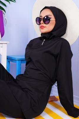 Bel Büzgülü Siyah Tesettür Mayo - Thumbnail