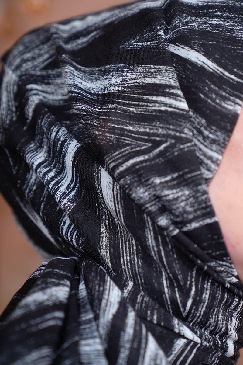 Black White Serisi Fırça Desen Siyah Şal
