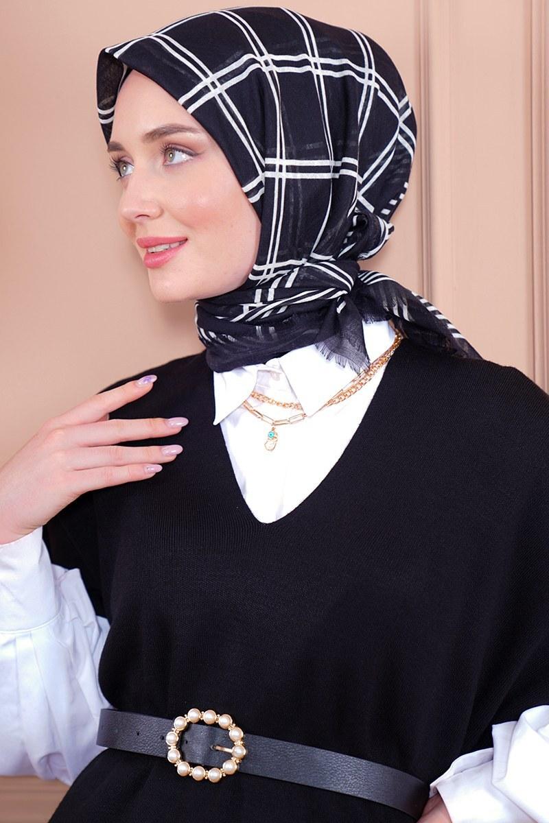Black White Serisi Kare Desen Siyah Eşarp