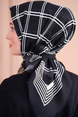 Black White Serisi Kare Desen Siyah Eşarp - Thumbnail