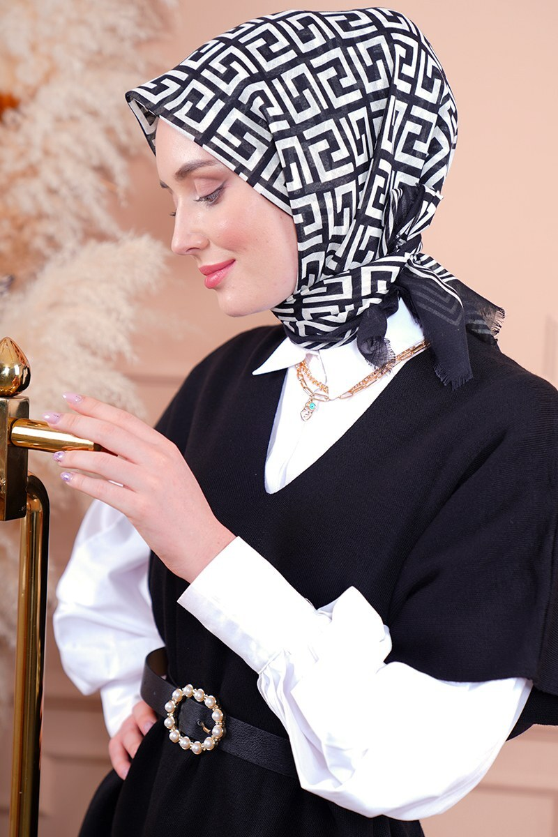 Black White Serisi Labirent Desen Siyah Eşarp