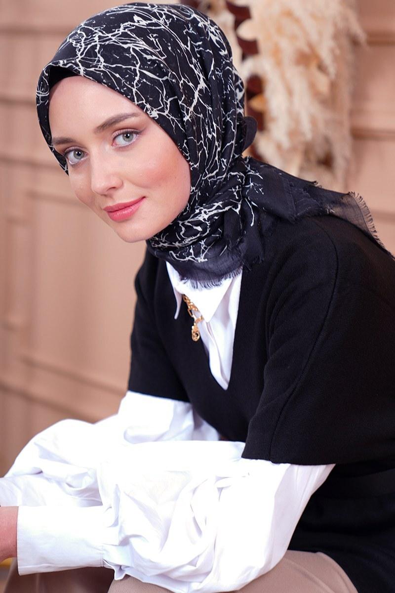 Black White Serisi Mermer Desen Siyah Eşarp
