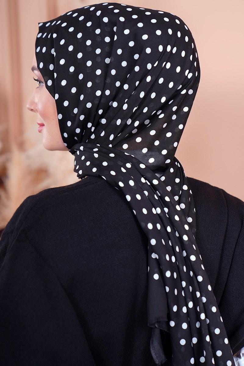 Black White Serisi Puantiye Desen Siyah Şal