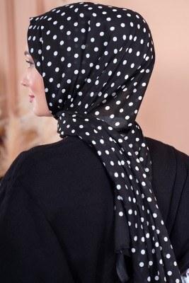 Black White Serisi Puantiye Desen Siyah Şal - Thumbnail