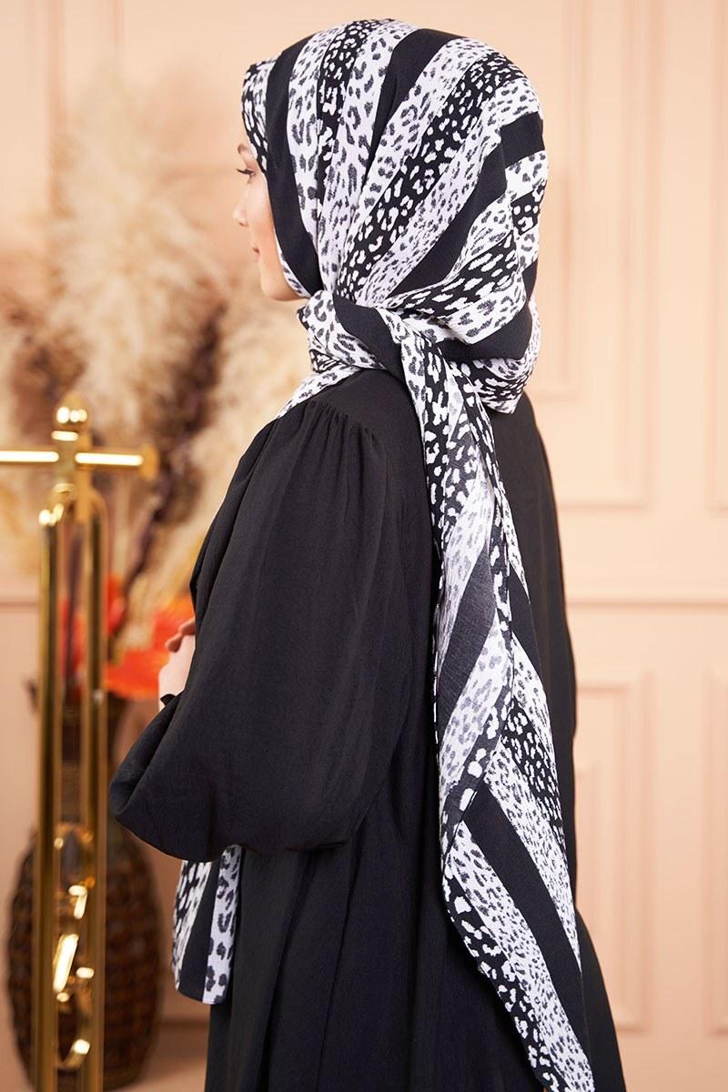 Black White Serisi Şeritli Desen Şal