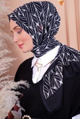Black White Serisi Yaprak Desen Siyah Şal - Thumbnail