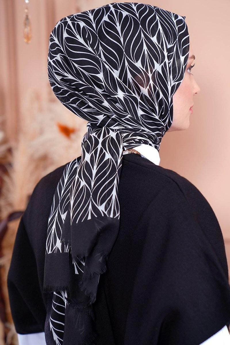 Black White Serisi Yaprak Desen Siyah Şal