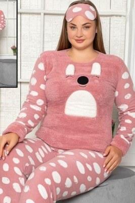 Büyük Beden Tavşanlı Gül Kurusu Welsoft Pijama Takımı - Thumbnail