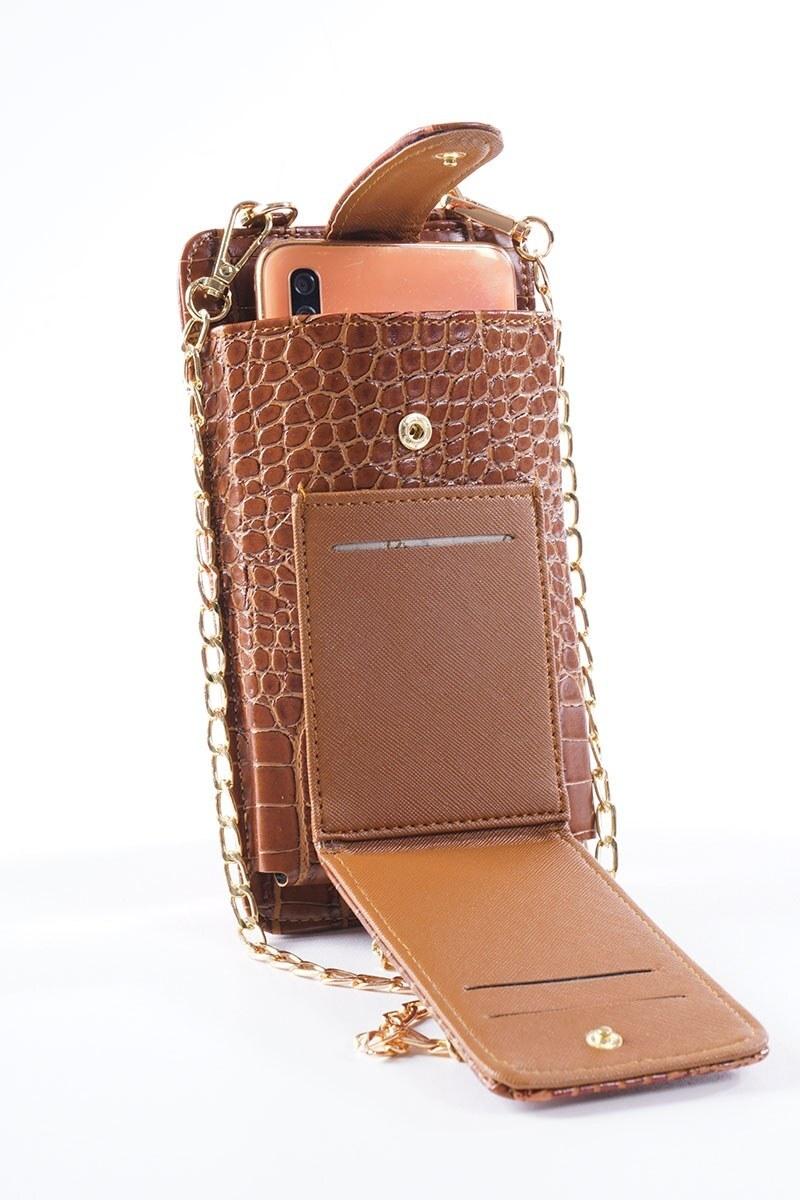 Telefon Bölmeli Taba Cüzdan Çanta