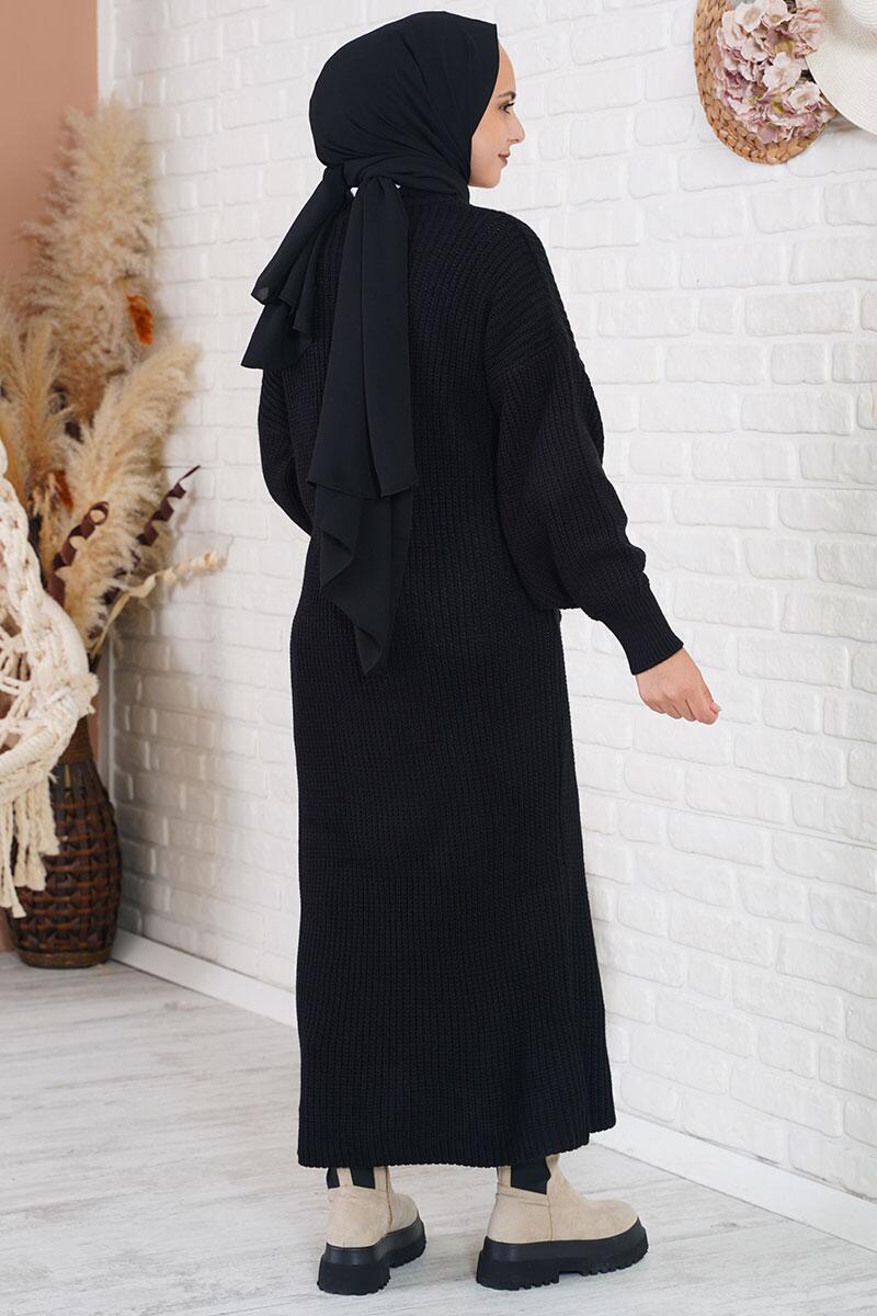 Cepli Uzun Siyah Triko Hırka
