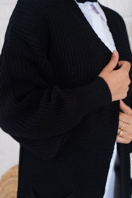 Cepli Uzun Siyah Triko Hırka - Thumbnail