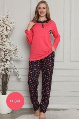 Çiçek Nakışlı FUŞYA Pijama Takımı - Thumbnail