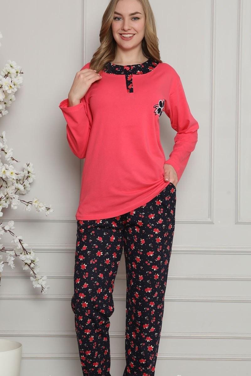 Çiçek Nakışlı FUŞYA Pijama Takımı