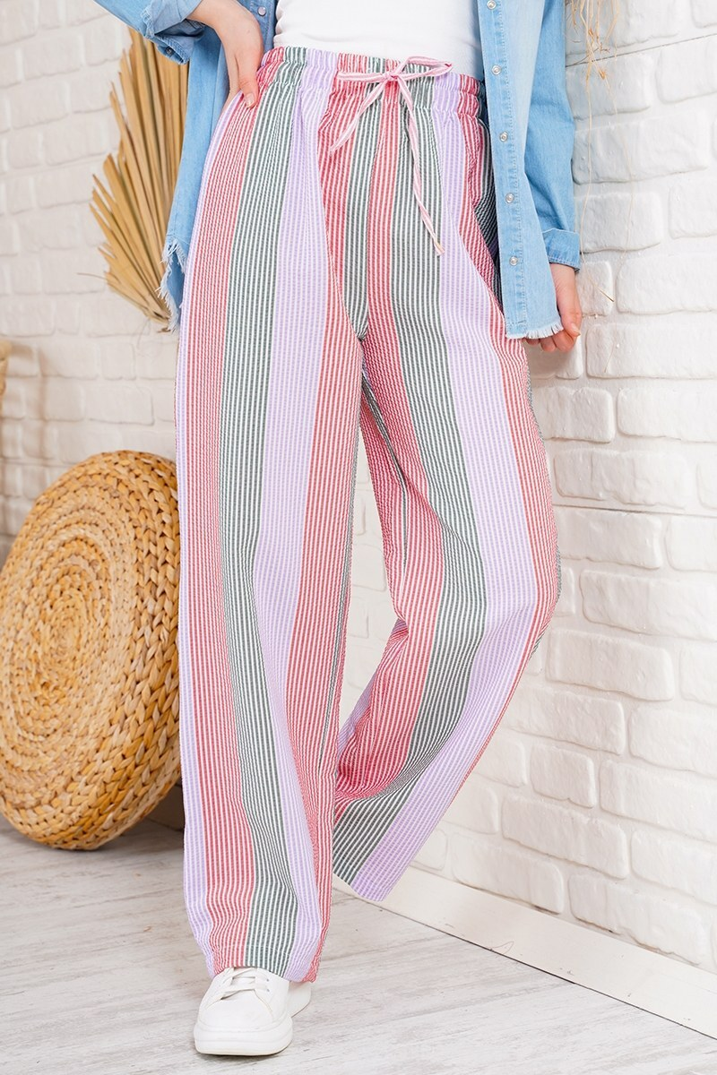 Çizgili Salaş Kiremit Pantolon