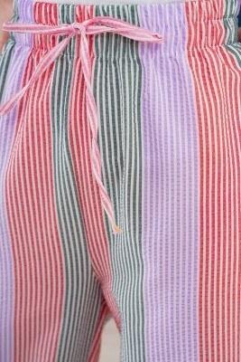 Çizgili Salaş Kiremit Pantolon - Thumbnail