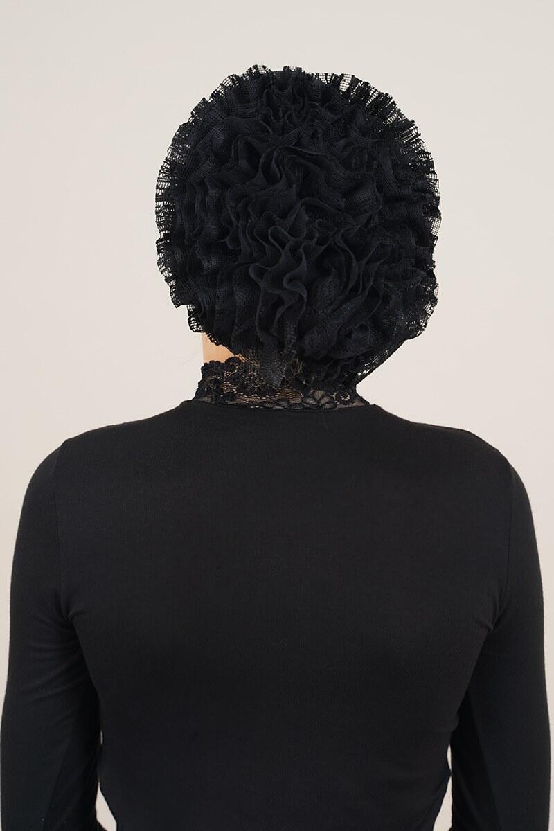 Dantel Fırfırlı Siyah Bone