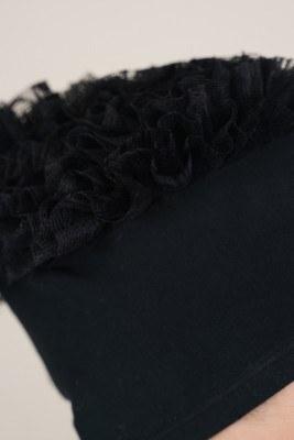 Dantel Fırfırlı Siyah Bone - Thumbnail