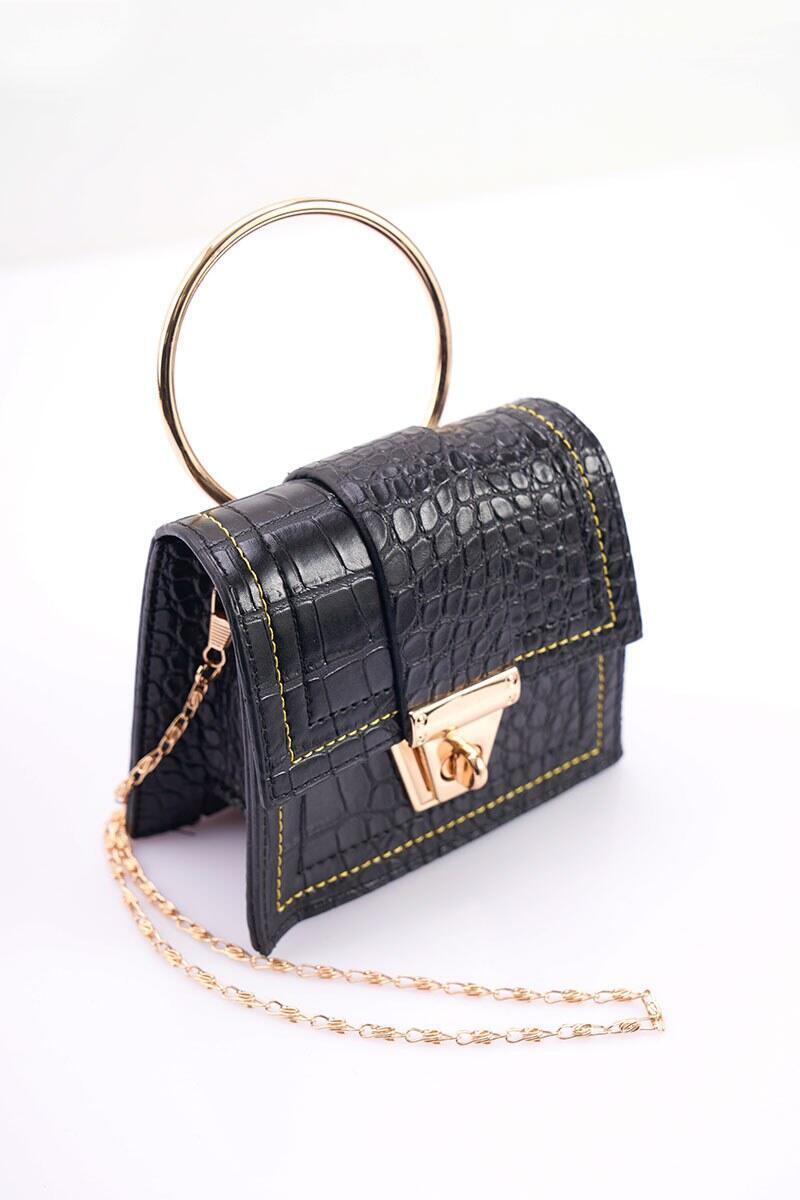 Desenli Çok Kullanışlı Siyah Mini Çanta