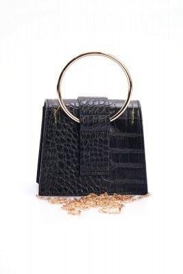 Desenli Çok Kullanışlı Siyah Mini Çanta - Thumbnail
