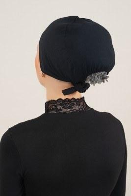 Dikişsiz Model Siyah Bone - Thumbnail