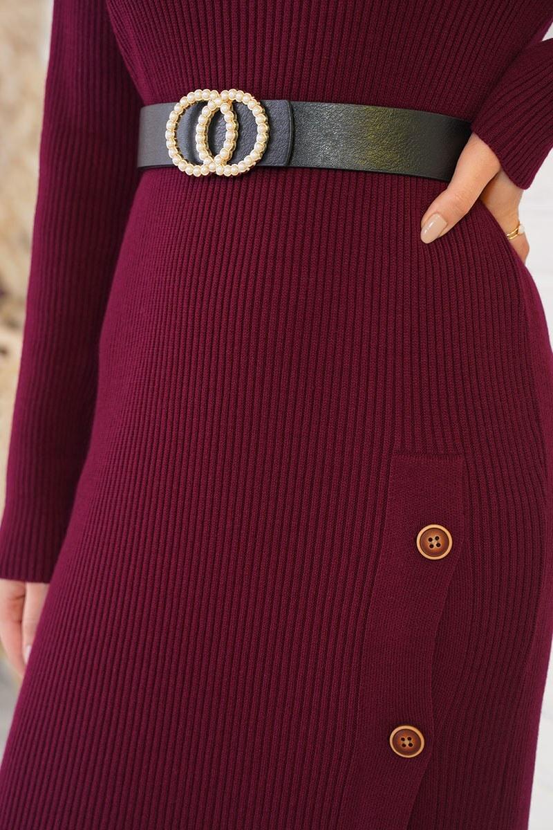 Düğmeli Fitilli Bordo Triko Elbise
