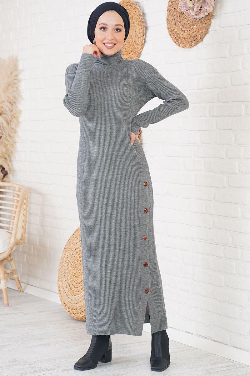 Düğmeli Fitilli Füme Triko Elbise