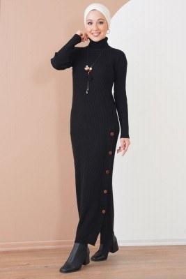 Düğmeli Fitilli Siyah Triko Elbise - Thumbnail