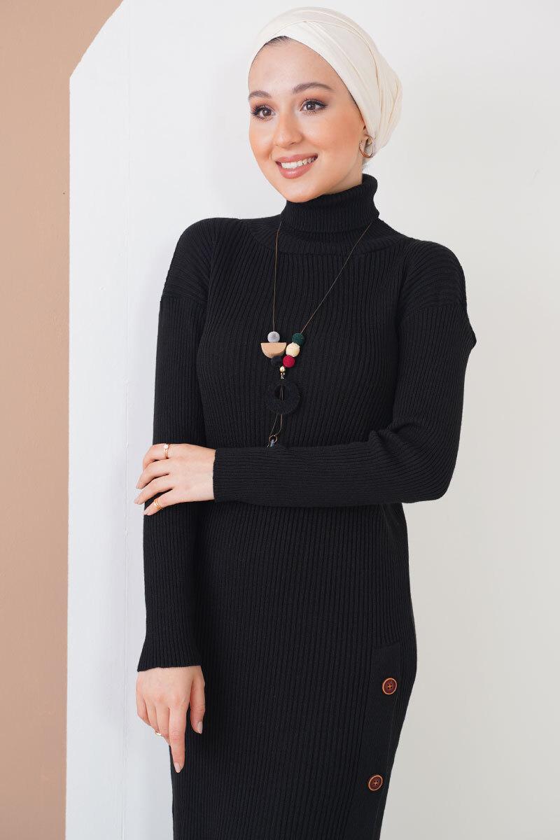 Düğmeli Fitilli Siyah Triko Elbise