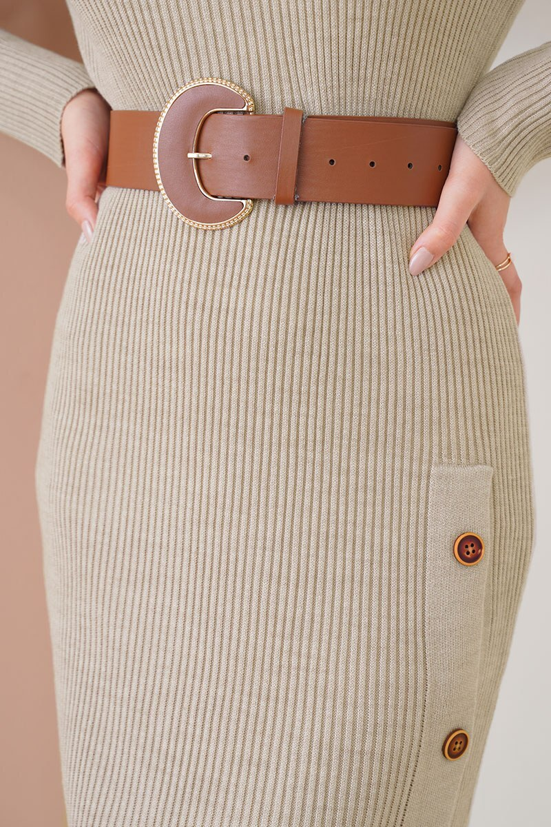 Düğmeli Fitilli Taş Triko Elbise