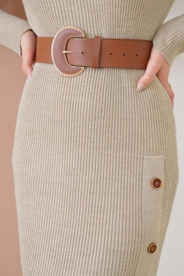 Düğmeli Fitilli Taş Triko Elbise - Thumbnail