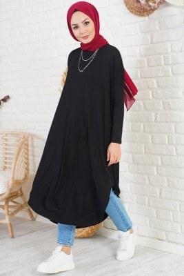 Düşük Omuzlu Uzun Siyah Tunik - Thumbnail