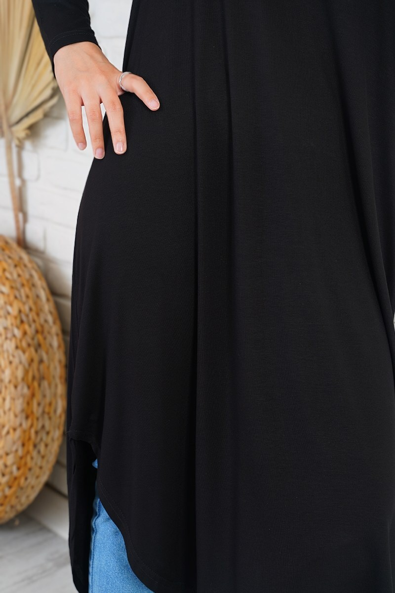 Düşük Omuzlu Uzun Siyah Tunik