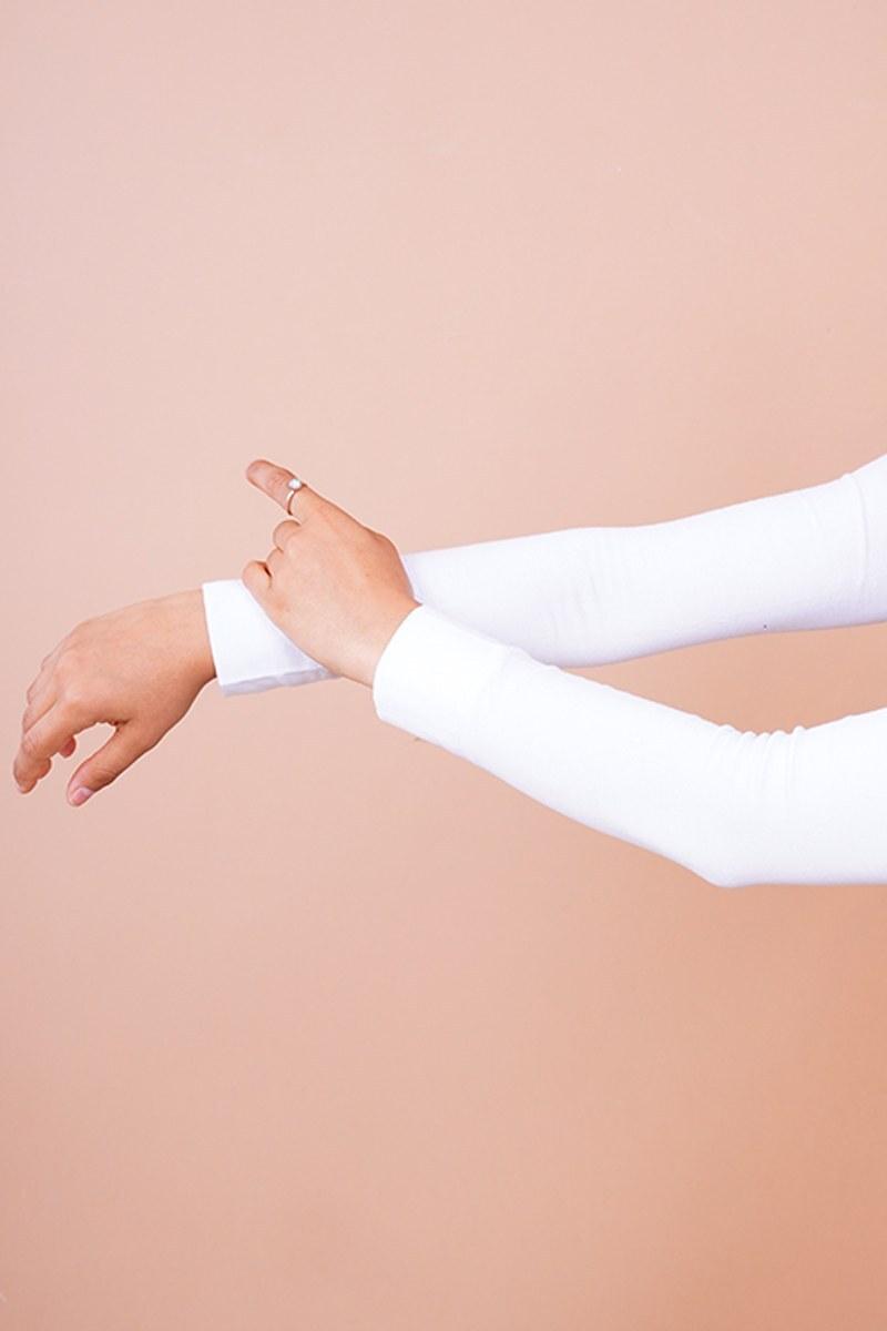 Düz Model Beyaz Tesettür Kolluk
