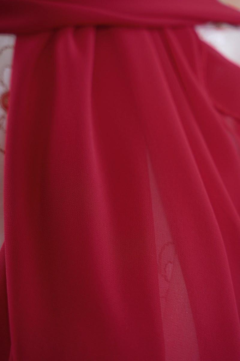 Tek Renk Şifon Şal - Kırmızı