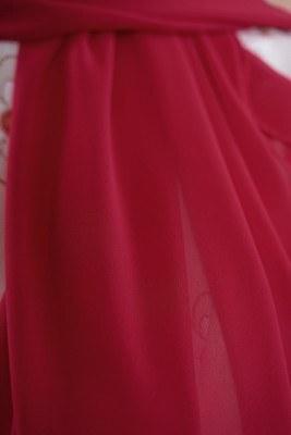 Tek Renk Şifon Şal - Kırmızı - Thumbnail