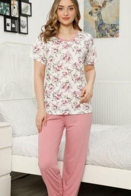 Gül Desen PEMBE Pijama Takımı - Thumbnail